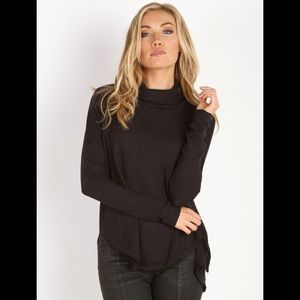 Free People Kristina Drippy Black Thermal Top